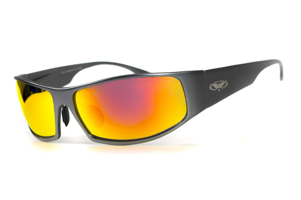 Очки защитные открытые Global Vision BAD-ASS-1 GunMetal (G-Tech™ red) красные зеркальные