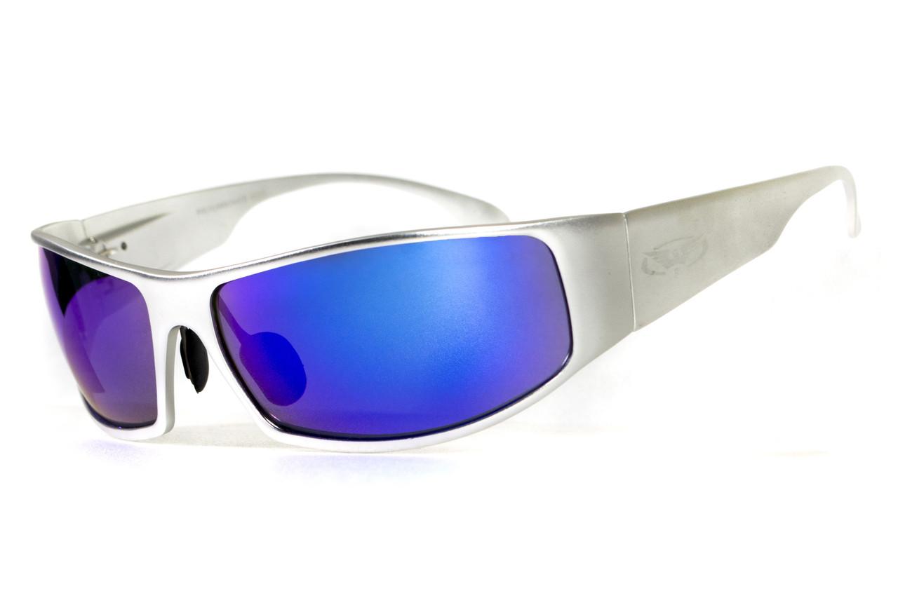 Очки защитные открытые Global Vision BAD-ASS-1 Silver (G-Tech™ blue) синие зеркальные