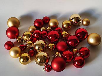 """Набор новогодних елочных шаров, """"золото-красный"""". Микс. 40 шт"""