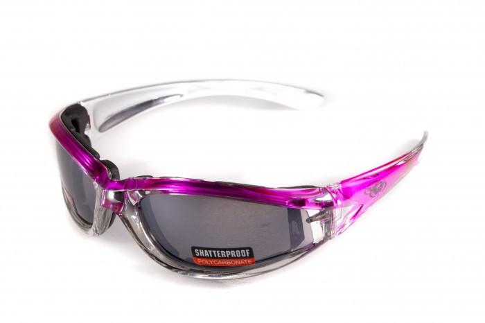 Окуляри захисні з ущільнювачем Global Vision FlashPoint Pink / Silver (mirror silver) дзеркальні сірі