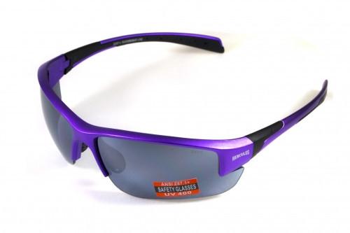 Очки защитные открытые Global Vision HERCULES-7 Purple (silver mirror) зеркальные серые