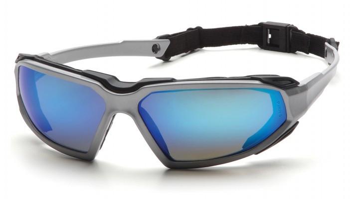Окуляри захисні з ущільнювачем Pyramex HIGHLANDER Plus (ice blue mirror) сині дзеркальні
