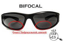 Біфокальні поляризаційні захисні окуляри 3в1 BluWater Winkelman-2 (+2.5) Polarize (gray) сірі