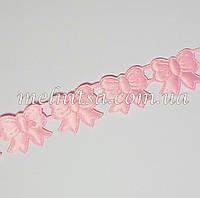 """Атласный ленточный декор """"Бантик"""", 2 см,  розовая"""