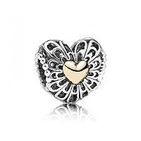 Шарм сердце наполненное любовью серебро 925, золото 585 Pandora