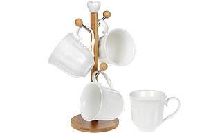 Набір (4шт) порцелянових чашок 300мл на бамбуковій підставці Naturel 31см (289-312)