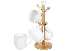 Набір фарфорових чашок (4 шт) 320мл на бамбуковій підставці Naturel (289-317)