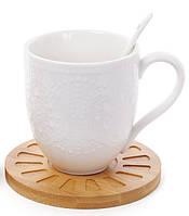 Набір чашок 350мл з ложками на бамбукових костерах (2 шт) Naturel мереживо (289-297)