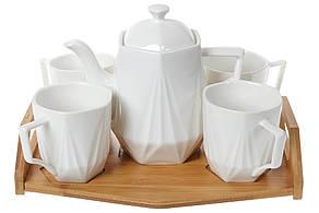 Чайний фарфоровий набір на бамбуковому підносі: чайник 900мл і 4 гуртки 320мл (289-348)