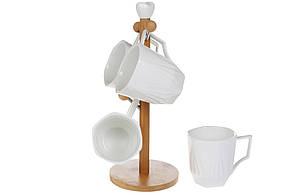 Набір фарфорових чашок (4 шт) 300мл Naturel на бамбуковій підставці (289-359)