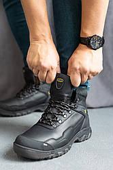 Мужские кроссовки кожаные зимние черные Shark B 223