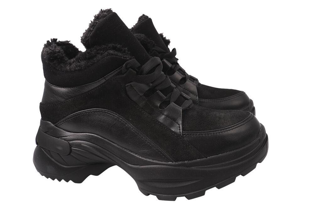 Кроссовки женские из натуральной кожи, на шнуровке, на платформе, черные, Украина Maxus
