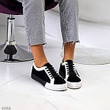 Молодежные черно-белые женские кеды криперы на утолщенной подошве 41-26см, фото 7