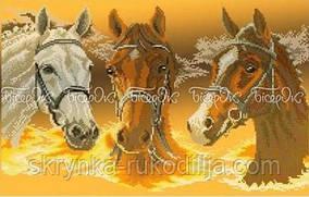 """Вишивка бісером """"Три коня"""" (30x50)"""