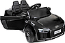 Дитячий електромобіль Ауді з шкіряним сидінням, Audi R8 Spyder чорний, фото 8