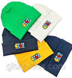 Шапка трикотажна подвійна з вишивкою Among Us р50-52 код 3102 Glory-kids