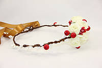 Ободок венок из белых роз и калины , фото 1