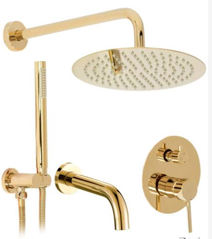 Змішувач для душу і ванни вбудований золотий латунний 0904