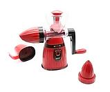 Соковыжималка Meileyi 2в1 Juicer and Ice Cream шнековая ручная универсальная с набором насадок Красная, фото 2