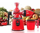 Соковыжималка Meileyi 2в1 Juicer and Ice Cream шнековая ручная универсальная с набором насадок Красная, фото 3