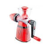 Соковыжималка Meileyi 2в1 Juicer and Ice Cream шнековая ручная универсальная с набором насадок Красная, фото 4
