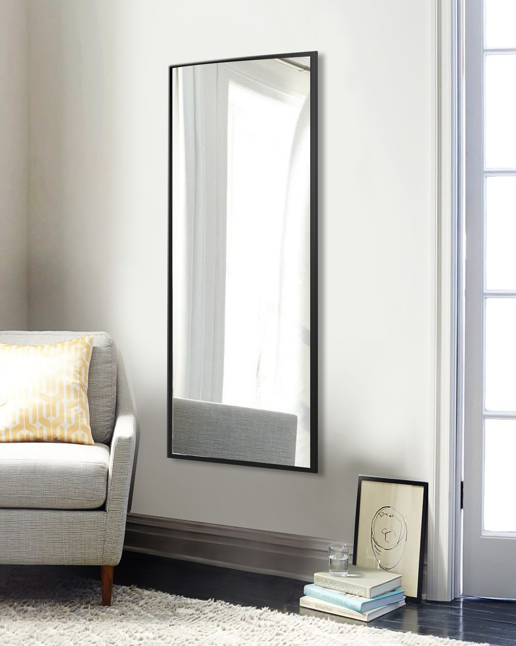 Зеркало прямоугольное черное 1300 х 600 мм | Дзеркало прямокутне, чорне 1300 х 600 мм