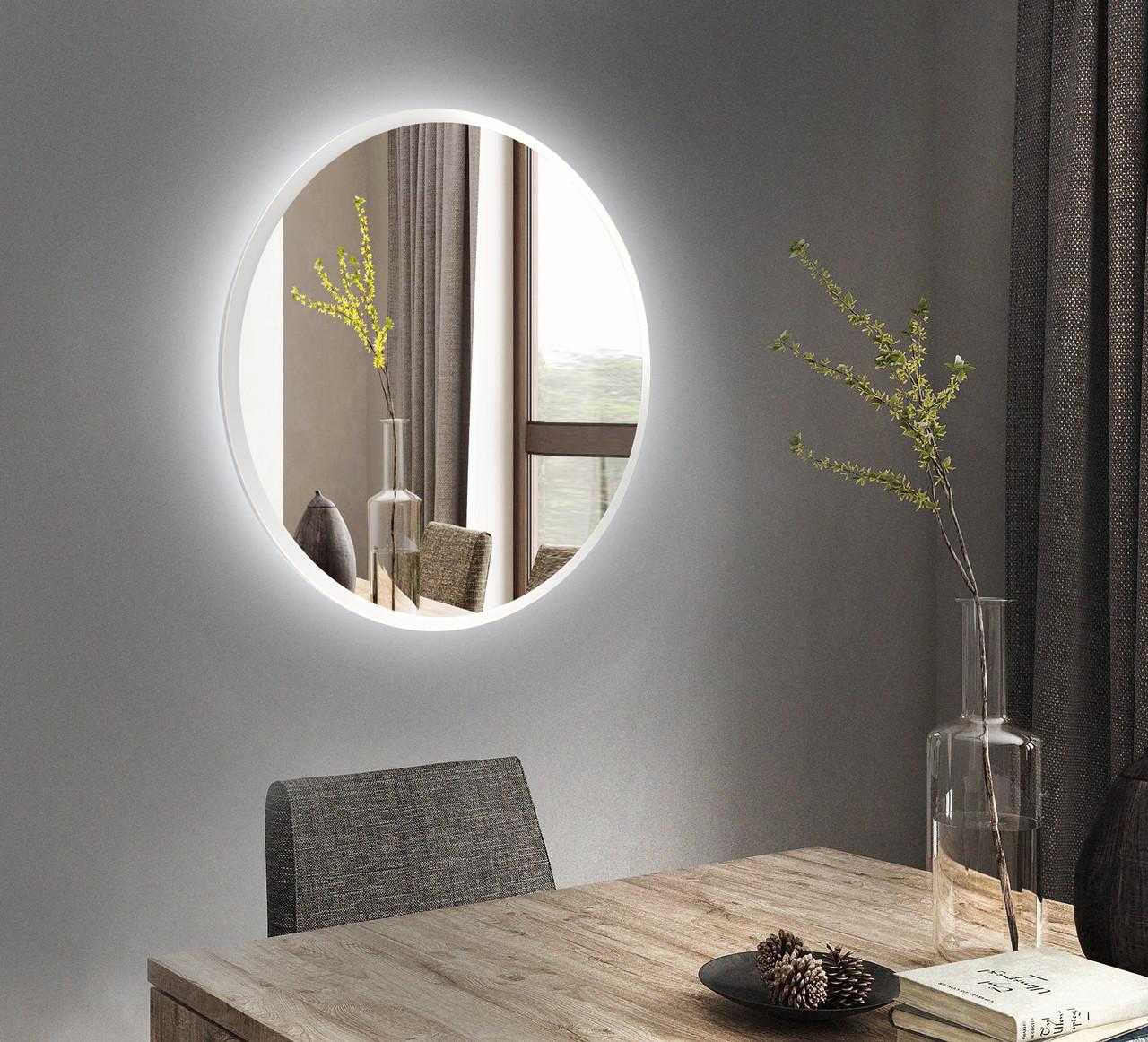 Белое круглое зеркало с подсветкой 800 мм   Біле кругле дзеркало з підсвічуванням 800 мм