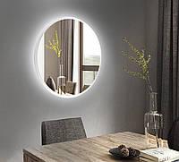 Белое круглое зеркало с подсветкой 800 мм   Біле кругле дзеркало з підсвічуванням 800 мм, фото 1