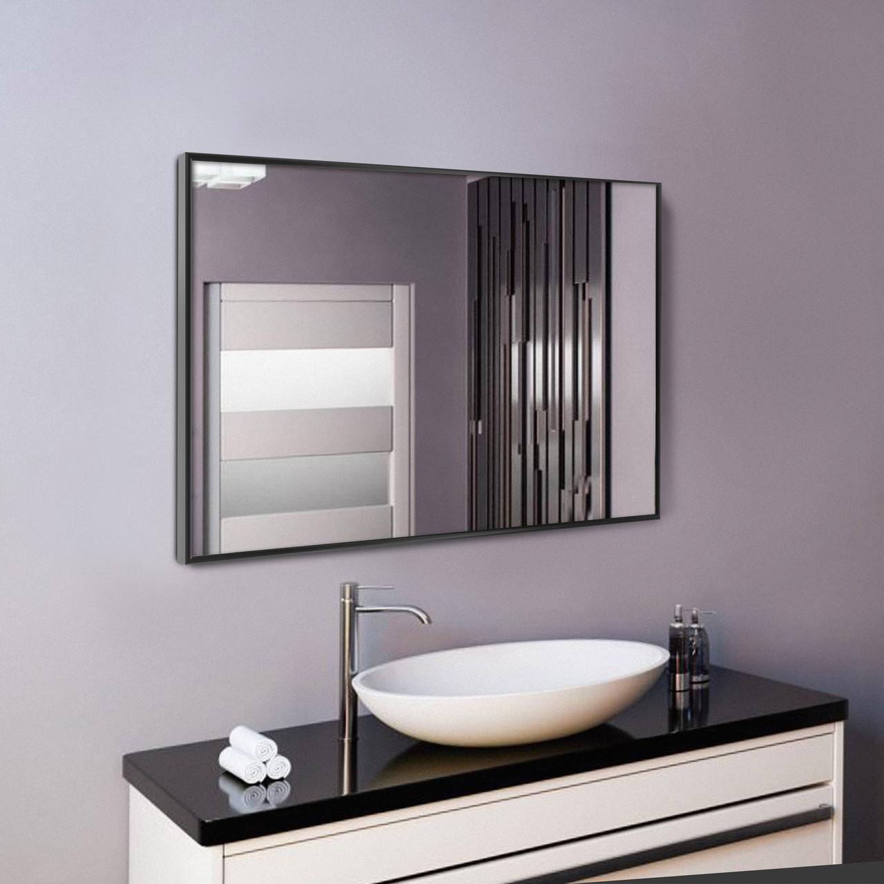 Ростовое дзеркало в чорному кольорі, алюміній 400x600