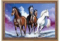 """Схема для частичной вышивки бисером """"Свобода"""", лошади"""