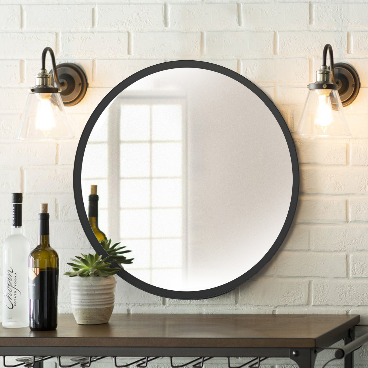 Зеркало 800мм белое Черный   Дзеркало 800мм біле Чорний