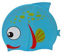 Детская шапочка для плавания голубого цвета «Плавнички»