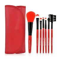 Набор профессиональных кистей для макияжа, 7 шт, красный