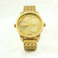 мужские металлические золотые часы  Dz Brave (Дизель Брейв), копия