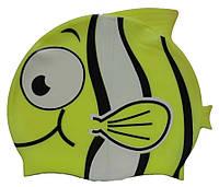 Дитяча шапочка для плавання жовтого кольору «Плавники», фото 1