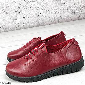 Туфли женские бордовые Agnes на ровной подошве из мягкой эко кожи | Мокасины женские на шнурках