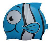 Детская шапочка для плавания голубого цвета «Плавнички», фото 1