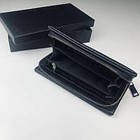 Клатч из натуральной кожи/ Кожанный кошелёк, бумажник, портмоне для мужчин/ мужской с ручкой и ремешком чёрный
