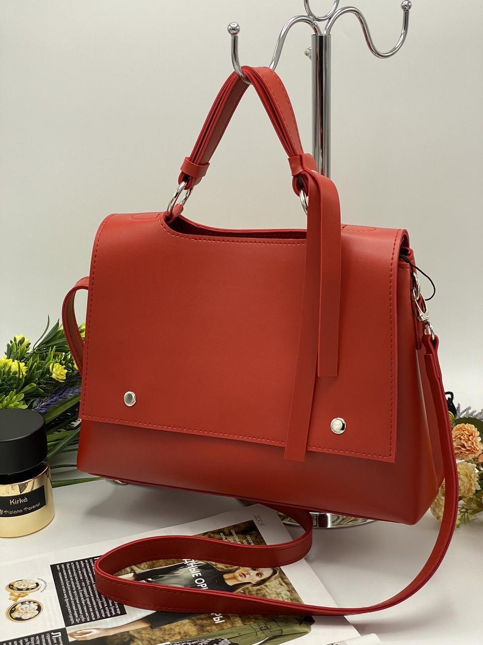 Стильная красная сумочка женская класическая среднего размера