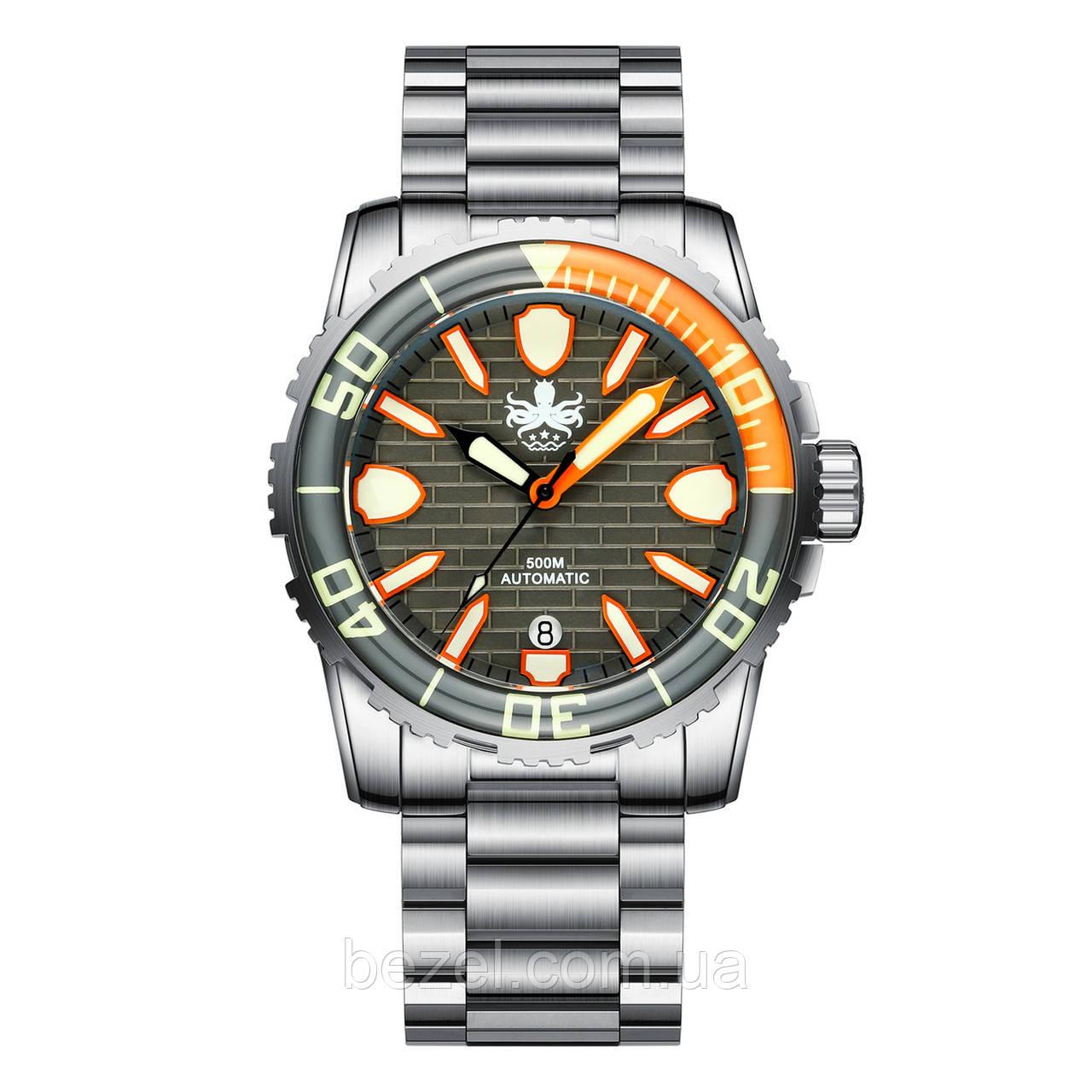 Мужские часы PHOIBOS GREAT WALL 500M Automatic Diver PY022D Grey-Orange Limited Edition