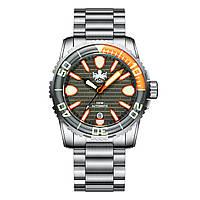 Мужские часы PHOIBOS GREAT WALL 500M Automatic Diver PY022D Grey-Orange Limited Edition, фото 1