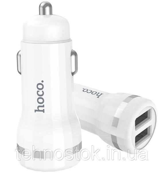 Автомобільний зарядний пристрій (АЗП) Micro USB 5V/2.4 A 2USB Z27 white Hoco Гарантія 3 місяці