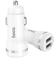 Автомобільний зарядний пристрій (АЗП) Micro USB 5V/2.4 A 2USB Z27 white Hoco Гарантія 3 місяці, фото 1
