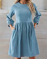 Жіноче вельветові плаття із завищеною талією, фото 1