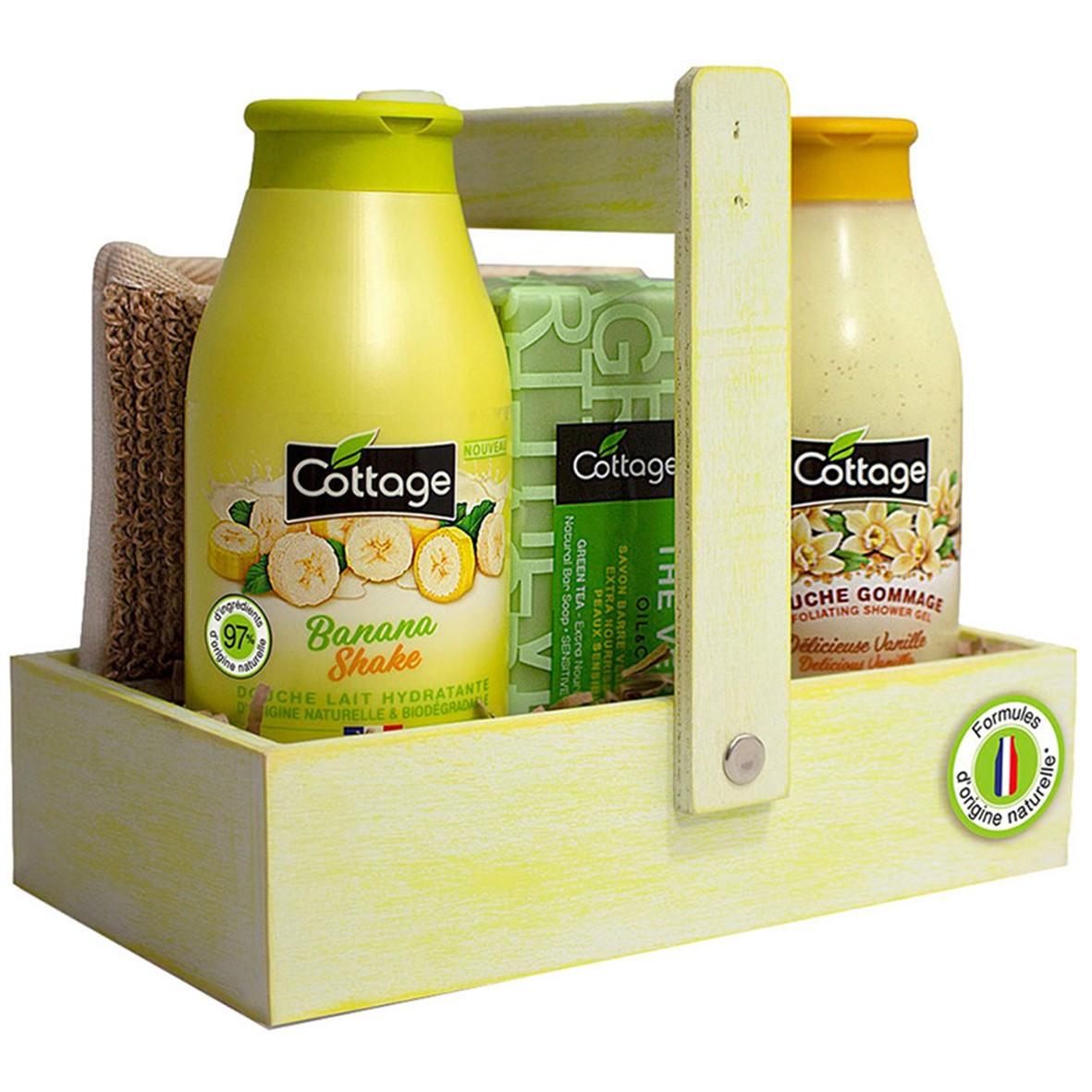 Набор Cottage Банановый молочный коктейль (молочко+эксфолиант+мыло+мочалка) 250+270 мл+150 г+1 шт