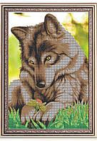 """Схема для вышивки бисером """"Волчонок с цветком"""", схема под бисер или крестик"""
