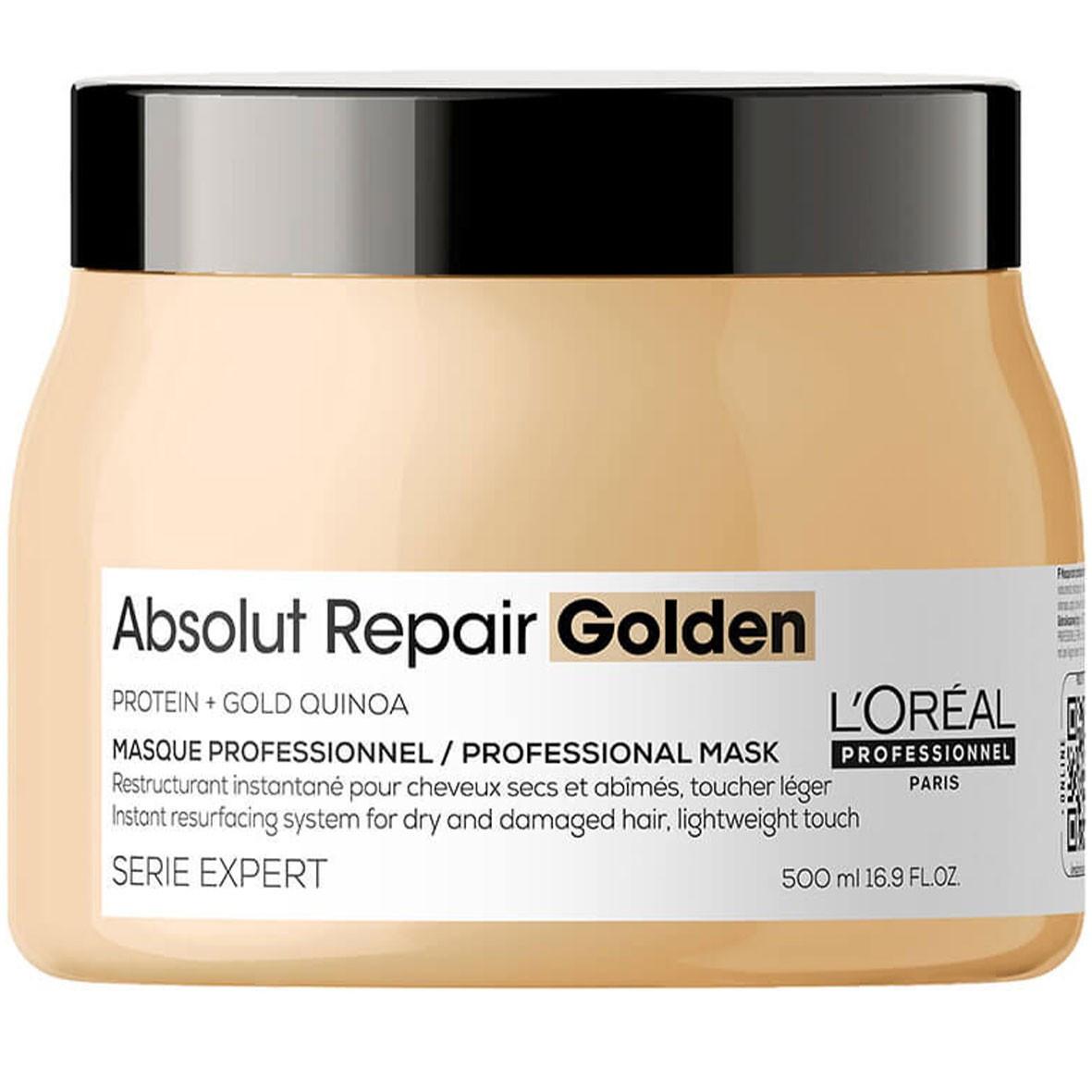 Маска для восстановления волос золотая LOreal Absolut Repair Gold Quinoa Golden NEW DESIGN 500 мл