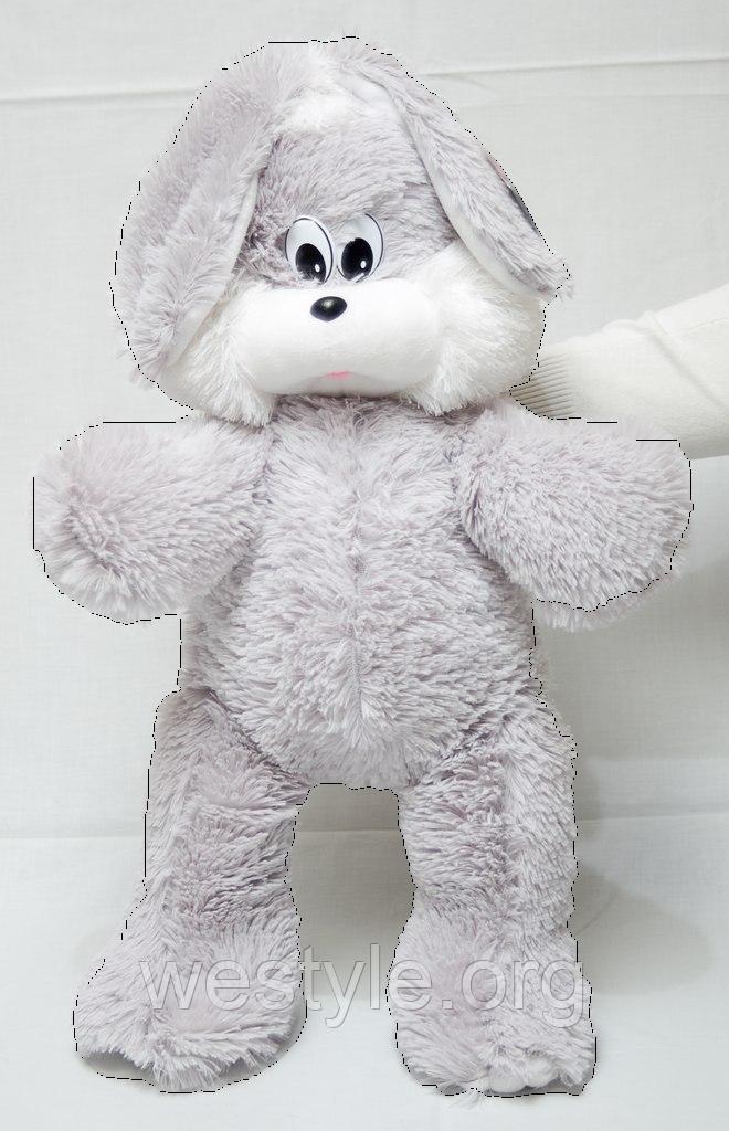 Мягкая игрушка - Заяц Снежок серый
