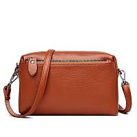 Кожаная женская сумка из натуральной кожи. Сумочка женская маленькая на три отделения (рыжая)
