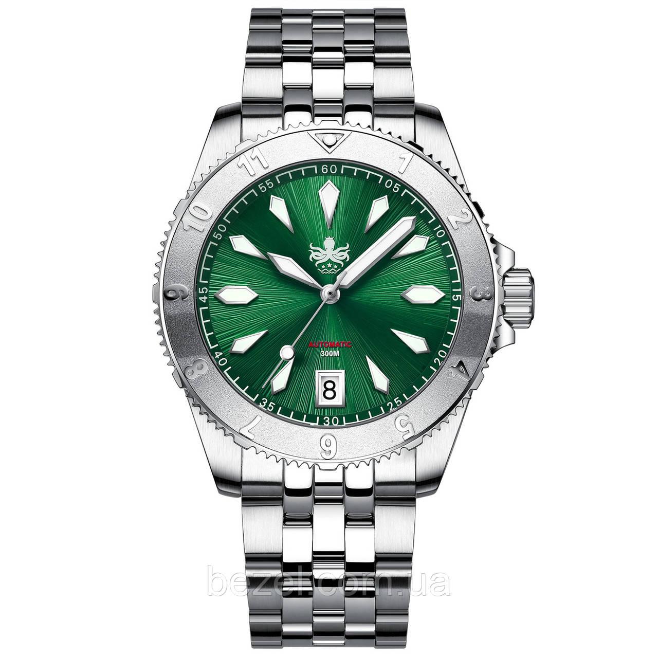 Чоловічі годинники PHOIBOS Voyager 300M Automatic Diver PY026A Green
